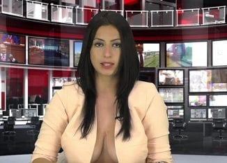 Enki Bracaj did screen tests for Zjarr channel wearing an almost open top